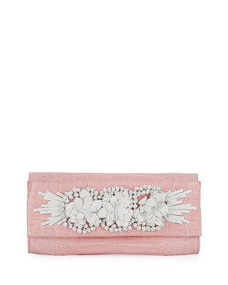 Image 1 of 3: Floral Insert Crocodile Clutch Bag