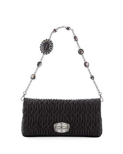Matelasse Leather Crystal-Lock Shoulder Bag