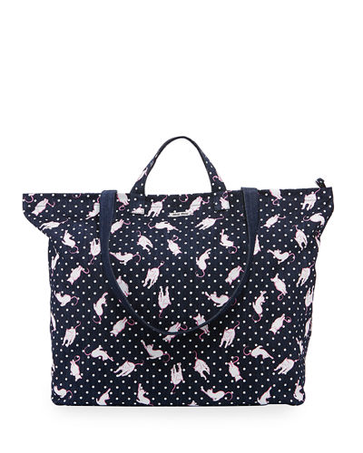 Cat and Dot Printed Denim Tote Bag