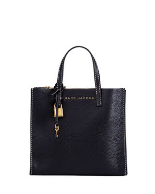 The Grind Mini Beads & Pompoms Black Leather Tote Bag, Black/Gold