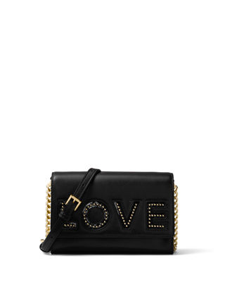 Ruby Medium Love Polished Leather Clutch Bag