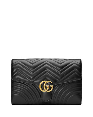 dca20c4de904 Gucci GG Marmont Chevron Quilted Leather Flap Clutch Bag