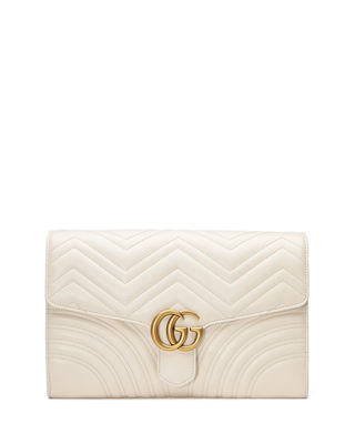 GG Marmont Chevron Quilted Leather Flap Clutch Bag