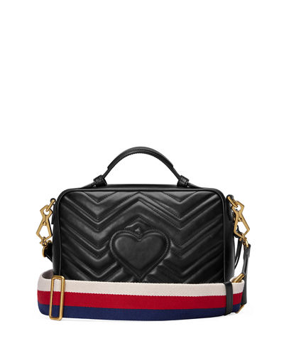 GG Marmont Small Chevron Quilted Leather Top-Handle Camera Bag with Web Strap