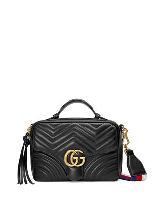 Gucci GG Marmont Small Chevron Quilted Leather Top-Handle Camera Bag with Web Strap 8bnKh4