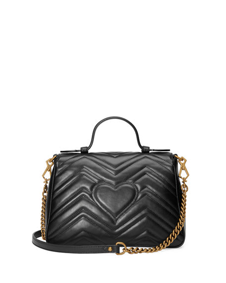 Image 3 of 4: Gucci GG Marmont Small Chevron Quilted Top-Handle Bag with Chain Strap