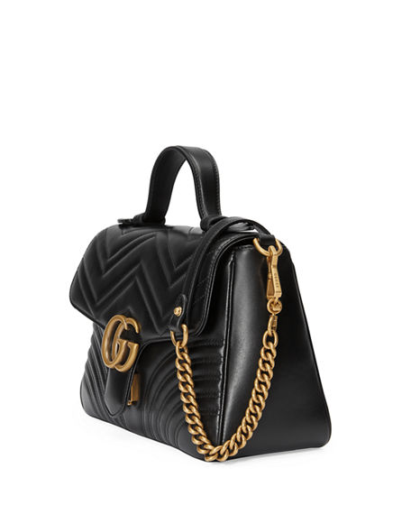 Image 4 of 4: Gucci GG Marmont Small Chevron Quilted Top-Handle Bag with Chain Strap