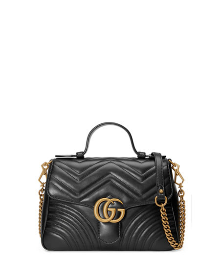 Image 1 of 4: Gucci GG Marmont Small Chevron Quilted Top-Handle Bag with Chain Strap