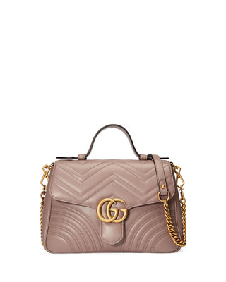Gg Marmont Small Chevron Quilted Top-Handle Bag With Chain Strap, Beige