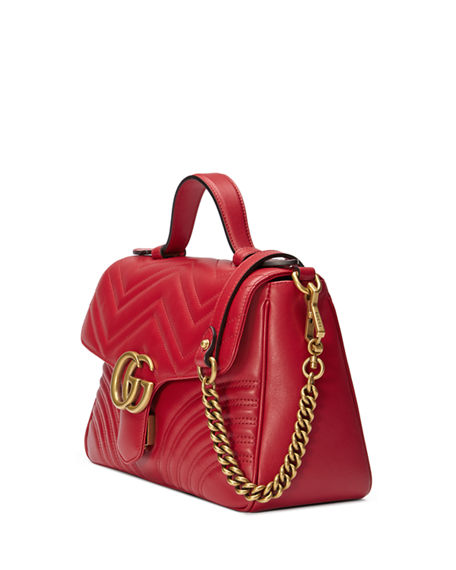 38879e895f6a Image 4 of 4  Gucci GG Marmont Small Chevron Quilted Top-Handle Bag with