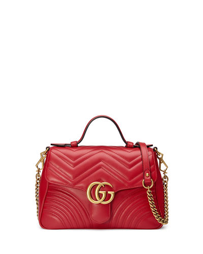 GG Marmont Small Chevron Quilted Top-Handle Bag with Chain Strap