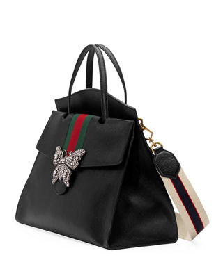 Image 4 of 4: Linea Totem Large Leather Top-Handle Bag with Butterfly & Web Strap