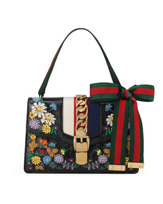 Sylvie Small Floral Leather Shoulder Bag