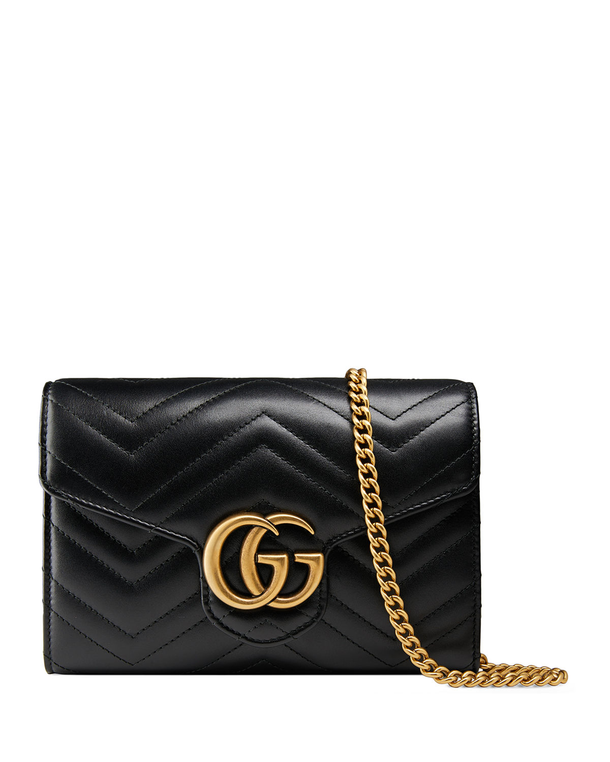 5a28332872353b Gucci GG Marmont Chevron Quilted Leather Flap Wallet on a Chain ...