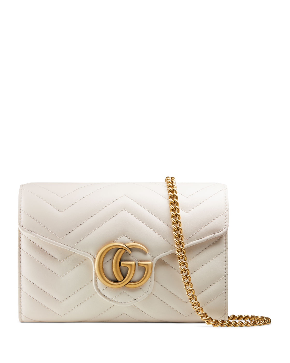 9ef62a12531 Gucci GG Marmont Chevron Quilted Leather Flap Wallet on a Chain ...