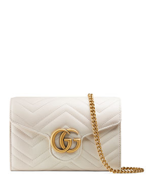 bbdaf348b2 Gucci GG Marmont Chevron Quilted Leather Flap Wallet on a Chain