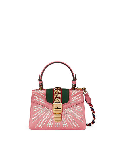 Sylvie Mini Embellished Satin Top-Handle Satchel Bag