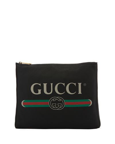 Gucci Print Leather Medium Pouch Clutch Bag