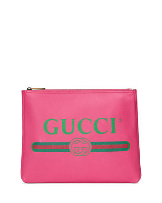 Gucci Gucci Print Leather Medium Pouch Clutch Bag