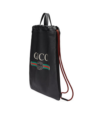 Image 4 of 4: Gucci-Print Leather Drawstring Backpack