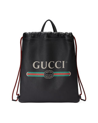 Image 1 of 4: Gucci-Print Leather Drawstring Backpack
