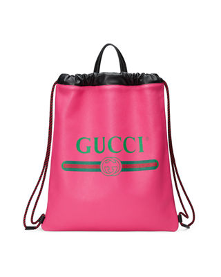 Gucci-Print Leather Drawstring Backpack