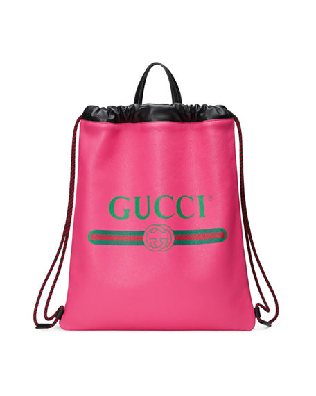 b0affb39839c GUCCI Logo Leather Drawstring Backpack - Pink | ModeSens