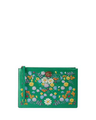 Ricamo Fiori Floral-Embroidered Clutch Bag