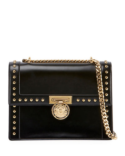 Smooth Studded Leather Shoulder Bag