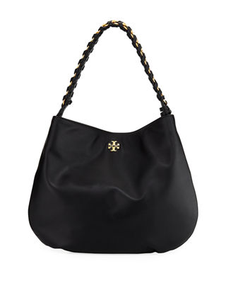 Image 1 of 3: Brooke Whipstitch Chain Leather Hobo Bag