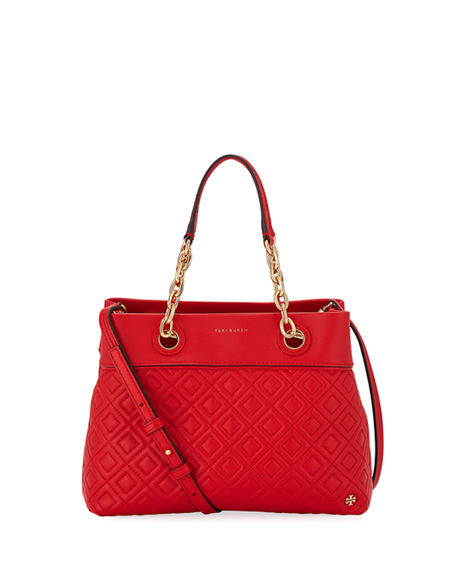 Tory Burch Leathers FLEMING SMALL QUILTED LEATHER TOTE BAG
