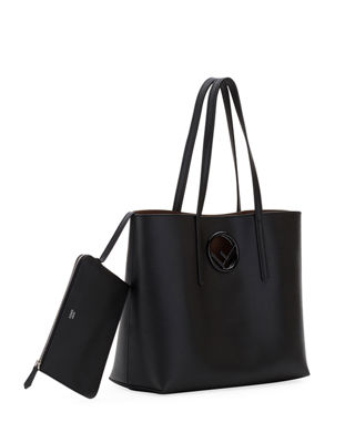 Image 2 of 4: F Logo Calf Leather Shopping Tote Bag
