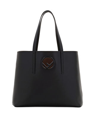 F Logo Calf Leather Shopping Tote Bag