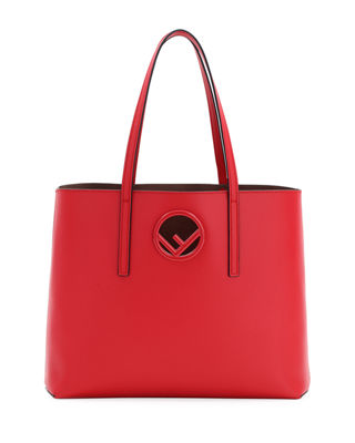 F Logo Calf Leather Shopping Tote Bag in Red