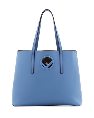 F Logo Calf Leather Shopping Tote Bag, Sky