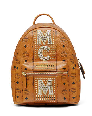 MCM Stark Stripe Crystal Studs Backpack