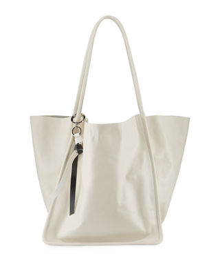 Extra Large Leather Tote - Ivory in Clay