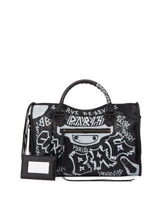 Classic City Aj Graffiti-Print Satchel Bag in Black