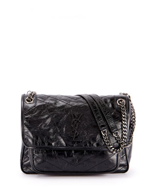 Saint Laurent Niki Medium Shiny Waxy Quilted Shoulder