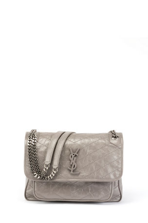 Saint Laurent Niki Medium Monogram YSL Shiny Waxy Quilted Shoulder Bag