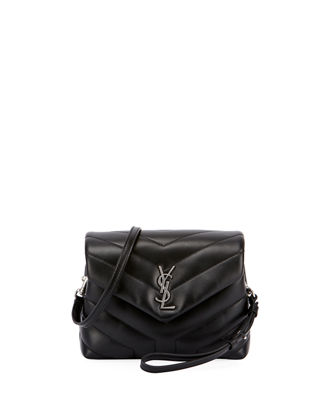 Saint Laurent Loulou Monogram YSL Mini V-Flap Calf Leather Crossbody Bag - Nickel Oxide Hardware