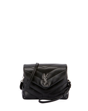 3dd406f4c7 Saint Laurent Loulou Monogram YSL Mini V-Flap Calf Leather Crossbody Bag -  Nickel Oxide