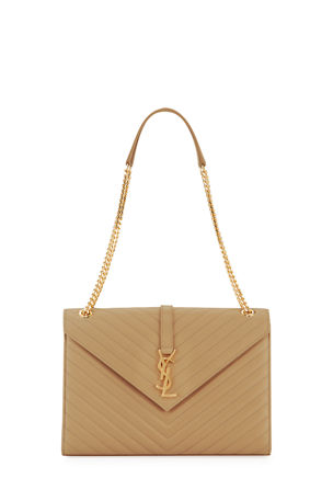 Saint Laurent V-Flap Large Monogram YSL Envelope Chain Shoulder Bag