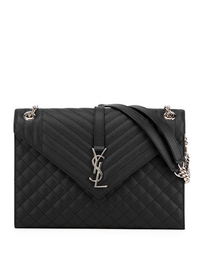 Monogram YSL V-Flap Large Tri-Quilt Envelope Chain Shoulder Bag - Miroir Hardware