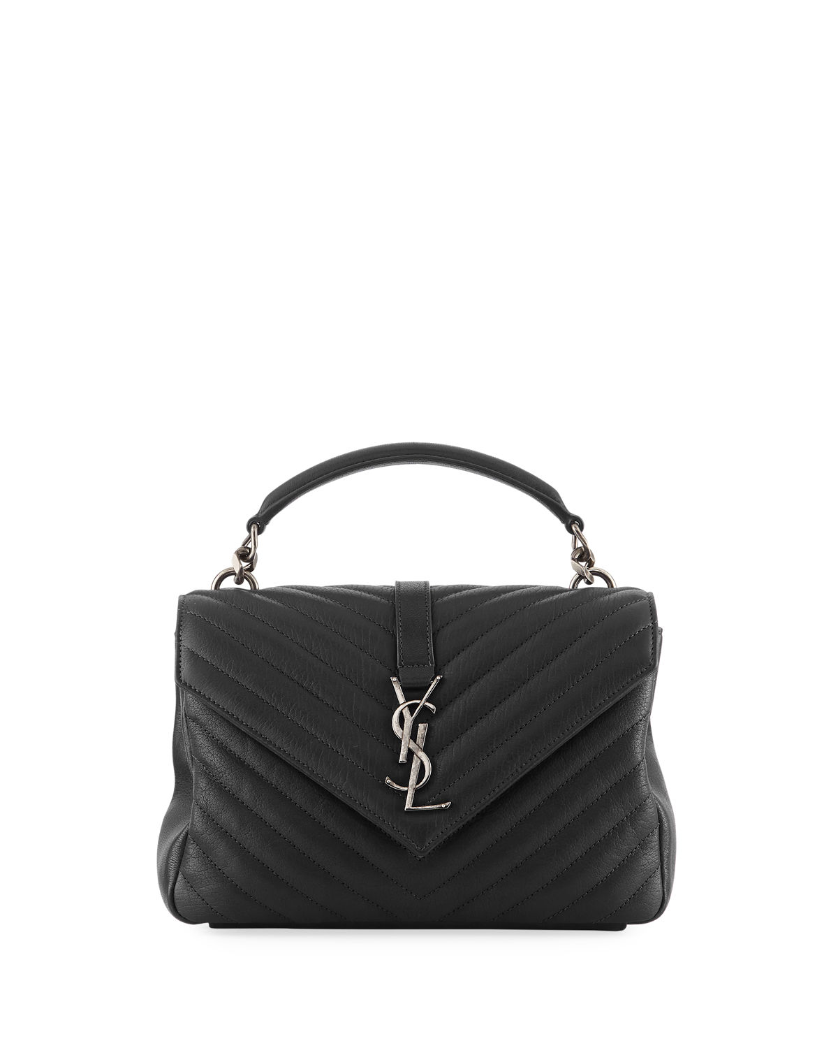 3bbb8fd7fc1 Saint Laurent College Medium Monogram YSL V-Flap Crossbody Bag - Silver  Hardware