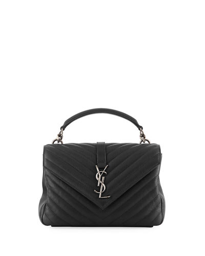 College Medium Monogram YSL V-Flap Crossbody Bag - Silver Hardware