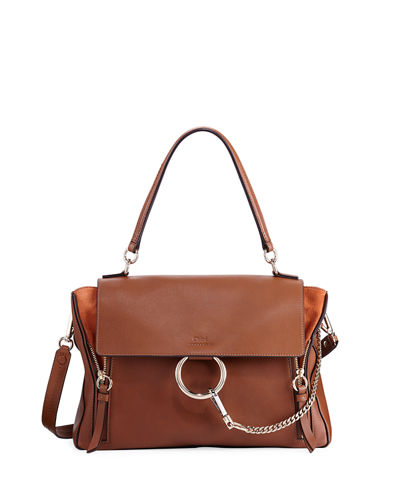 Faye Day Mixed Flap Medium Shoulder Bag