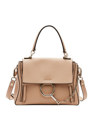 CHLOE SMALL FAYE CALFSKIN & SUEDE DAY BAG IN NUDE