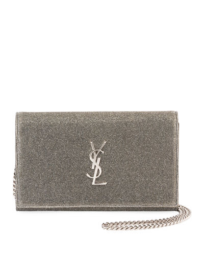Saint Laurent Kate Monogram Sparkle Wallet on a