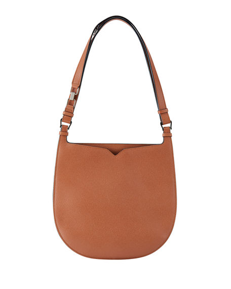Image 1 of 4: Valextra Textured Small Hobo Bag